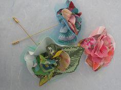 Handmade broochs in soft tissue, pastel colors. beatrice.cianfrui@facebook.com