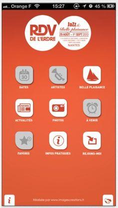 application iPhone Festival Les Rendez-vous de l'Erdre Nantes | UI Design mobile app iPhone Android