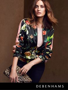 Debenhams Autumn collection 2016 worn by Yasmin le Bon. The bomber is this autumn's most covetable cover-up. Match your favourite off-duty looks with a delicately printed or embroidered bomber.