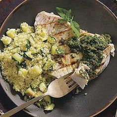Grilled Fish with Moroccan Chermoula Sauce and Zucchini Couscous.