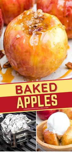 Baked Apples on the Grill or in the Oven is a delicious camping food! Apples stuffed with delicious oatmeal crumble, grilled, and topped with caramel and ice cream is simply irresistible. Save this quick and easy dessert! Grilled Desserts, Easy Desserts, Dessert Recipes, Best Apple Recipes, Sweet Spice, Summer Grilling Recipes, Baked Apples, Savoury Dishes, Brownie Recipes
