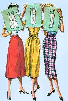 1950s Vintage McCalls Sewing Pattern 4167 Misses Instant Skirt Size 24 Waist