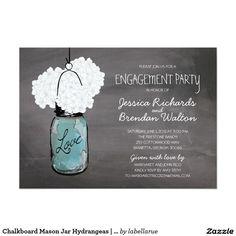 Chalkboard Mason Jar Hydrangeas | Engagement Party Card