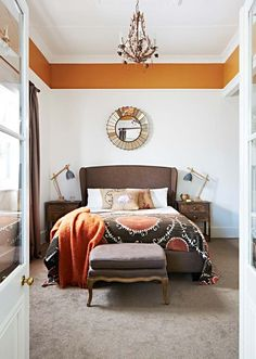 Cosy cottage bedroom in country Victoria - Home Beautiful Picture Rail Bedroom, Bedroom Pictures, Half Painted Walls, Living Room Decor, Bedroom Decor, Bedroom Orange, Room Colors, Paint Colors, Living Room Inspiration
