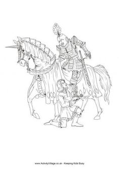 Knight And Squire Colouring Pages