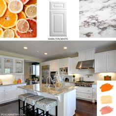 This mood board Monday features our Hamilton door style in White which pairs great with a marble slab counter top. Kitchen Colors, Kitchen Design, Peach Kitchen, Kitchen Cabinetry, Hamilton, Countertops, Mood, Marble, Pairs