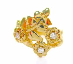 Vintage 0.10CT Fine Round Diamond Handcrafted Flower Ring 14K Yellow Gold  #Handmade #Flower