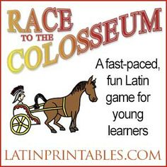 Race to the Colosseum Set 2 is a fun, fast paced game that reviews basic Latin vocabulary. Download, print, and assemble with easy instructions for hours of fun play and review.