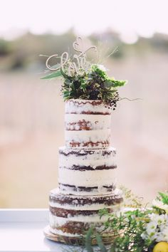 semi-naked, barely-frosted, half-dressed or scantily clad...not as casual as the naked cake, still has a rustic feel