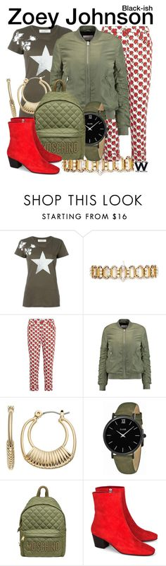 """""""Black-ish"""" by wearwhatyouwatch ❤ liked on Polyvore featuring Valentino, Erickson Beamon, Prada, W118 by Walter Baker, Napier, CLUSE, Moschino, Dorateymur, television and wearwhatyouwatch"""