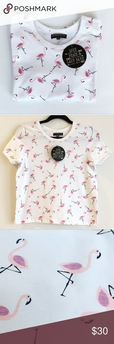 """NWTs """"Seeing Flamingos"""" Small Tee with a witty print that's sure to make you and everyone else you come into contact with smile, this top is a summer must-have! 100% Cotton  No trades  Please no lowball offers Tops Tees - Short Sleeve"""