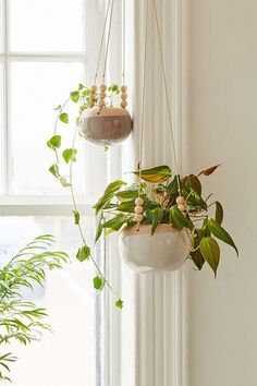 Slide View: 1: Stevie Wood Bead Hanging Planter