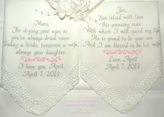 Personalized Embroidered Wedding Handkerchief Mother of the Bride & Groom Set of Two. $47.50, via Etsy.