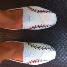 Toms painted with baseball laces....you can do this with any pair of white tennis shoes or flats.