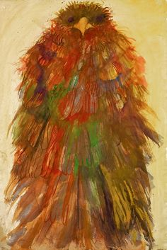 "Leonard Baskin (1922-2000): ""Burgeoning Phoenix"" 1985. Original Watercolor available at the R. Michelson Galleries"