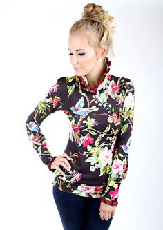 """Pullover & Pullunder - MEKO """"May"""" Pullover Marsala Damen Blumen - ein Designerstück von meko bei DaWanda"""