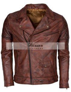 Mens Vintage Brown Biker Leather Jacket http://www.stinsonleathers