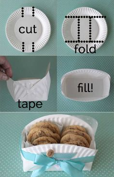 Cookie basket made from a paper plate. - 30 Last-Minute DIY Christmas Gift Ideas Everyone will Love