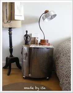 Top 23 Extremely Awesome DIY Industrial Furniture Designs***An old washing machine drum makes an industrial-looking nightstand Rustic Industrial Furniture, Repurposed Furniture, Industrial Decorating, Urban Industrial, Repurposed Doors, Industrial Bookshelf, Refurbished Furniture, Furniture Projects, Furniture Decor