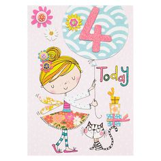 Buy Rachel Ellen Fidget Age 4 Girl Birthday Card