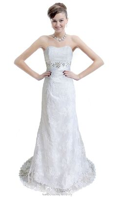 Hot Sale White Ivory Lace Column Wedding Dress Bridal Gown Size 6 8 10 12 14 16