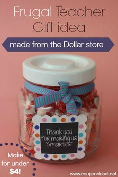 "Cute Smarties Teacher Gift idea - ""Thank you for making us Smarties"" - We made this at the dollar store for under $4. Plus there is a free printable."