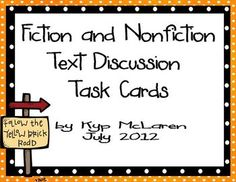 This is a set of (75) text discussion task cards  for both fiction and nonfiction.     Fiction cards cover:  Characters  Setting  Plot  Mood  Style  Theme  Author  Illustrations      Nonfiction cards cover:  Content  Accuracy  Style  Illustrations  Text Structures