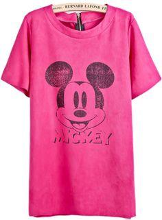 Rose Red Short Sleeve Mickey Print Chamois T-Shirt EUR€19.67