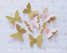 ad1324d6a Baby Shower pink and gold butterfly table decoration princess party baby  party gold glitter 3D butterfly confetti