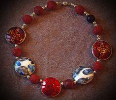 Collier, Feinsilber, Email Cloisonné, doppelseitig tragbar, Perlen indische Koralle