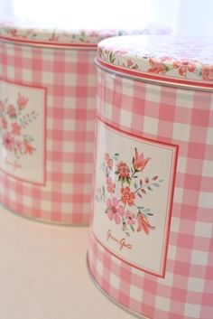 Kitchen Tins Canisters - Pastel Pink Gingham Check floral Shaby Chic - where can i find these tins???