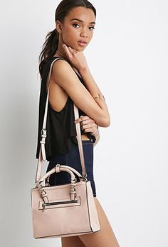 Zipped Faux Leather Satchel | Forever 21 - 1000167061