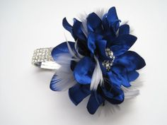 Wrist Corsage Royal Blue with Grey Feathers Rhinestone Wrist