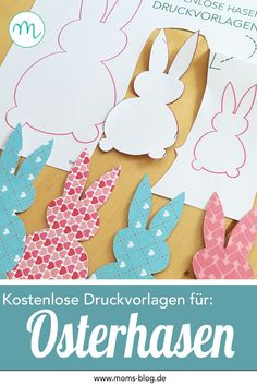 Niedliche Osterhasen Druckvorlage für eure Osterdeko! #freeprintable #freebie #ostern #druckvorlage Bunny Crafts, Easter Crafts For Kids, Homemade Paint, Arts And Crafts, Diy Crafts, Easter Treats, Spring Crafts, Happy Easter, Art For Kids