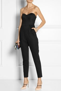 Milly|Strapless matte-satin jumpsuit|Jimmy Choo Shoes