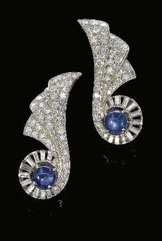 Art Deco sapphire and diamond, 1930s.