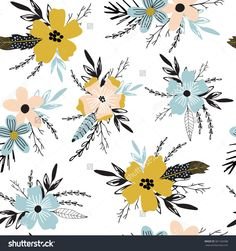 Beautiful seamless pattern with spring flowers. Bright illustration, can be used for creating card, invitation card for wedding,wallpaper and textile.