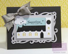 Designed by Lori Barnett. Crafter's Companion Die'sire Classique Spring/Summer Collection - Church and Steeple Die, Head in the Clouds die set Crafter's Companion Die'sire Decorative Die Collection- Nouveau Stamping Frame Crafter's Companion Vintage Floral Sentimentals Collection - Phrases stamp set. @CraftersCompUS  @crafterscompuk #Crafterscompanion