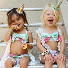 Everliegh and Ava Little Girl Bikini, Bikini Girls, Bikini Set, Cute Little Girls, Cute Kids, Cute Babies, Baby Momma Dance, Forever And Forava, Winter Fashion Outfits