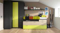 kids room, llit compacte amb taula d'escriptori extraïble, calaixos contenidors i llit supletori moblestatat.com Horta Guinardó Barcelona