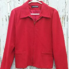 Vintage Savannah wool jacket Pretty red zip up with 2 front fake pockets. 100% pure new wool. Size tag was removed, but it fits like a medium. Dry clean only. Excellent, flawless condition! Woolmark  Jackets & Coats