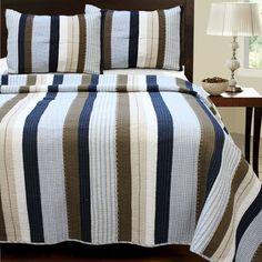 Navy Blue Brown Striped Teen Boy Bedding Twin XL Full/Queen King Quilt Set Cotton Bedspread