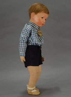 """20"""" boy doll with cloth body, jointed hips, and human hair wig, c. 1955, West Germany, by Käthe Kruse."""