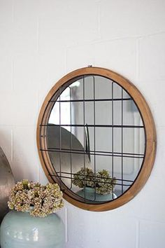 Round Mirror with Wood Frame and Wire Cage