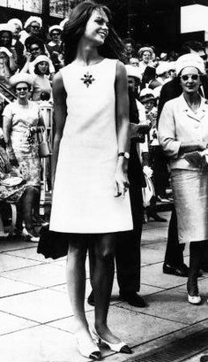 jean shrimpton at the Victoria Derby 1965.  Showed up wearing a shift dress 10 cm above the knee and a man's watch.  Awesome.