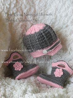 Pink/Gray Baby Set-Newsboy and Galoshes  www.etsy.com/shop/HannahsHomestead2