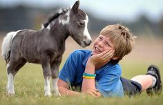 Sam Leith, 12, and a miniature pony which stands not quite 15 inches high, the littlest ever born at Riverdance Miniature Horses at Ballan, near Melbourne
