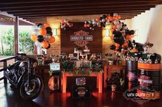 Check out this fantastic Harley Davidson 1st Birthday Party! The dessert table is amazing!! See more party ideas and share yours at CatchMyParty.com #1stbirthday #harleydavidson