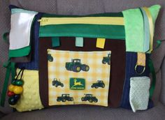 Alzheimer's Dementia Activity Pillow Fidget, Ties to chair or wheelchair - Hours of Busy Therapy Fun - John Deere