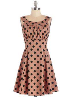 Trifle of Joy Dress. With a smile and a twirl, you present your latest confection to giddy house guests in this polka-dotted dress. #gold #prom #modcloth